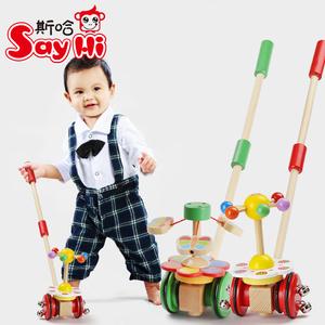 卡通幼儿学步动物手推车<span class=H>玩具</span> 宝宝木质单杆推车旋转蝴蝶学步1-3岁