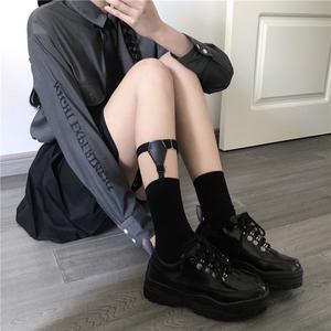 樱田川岛2019春季新款配饰<span class=H>吊袜带</span>小腿袜腿环半筒袜黑色防滑绑带袜