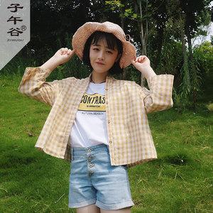 韩版春夏学院风宽松短款立领长袖薄款格子衬衫女学生休闲<span class=H>衬衣</span>上衣
