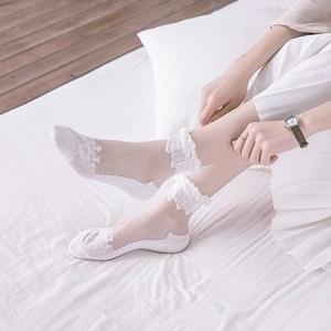 秋天袜子女花边中筒袜薄款透明水晶纯棉玻璃<span class=H>丝袜</span>短袜日系蕾丝防臭