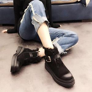 欧洲站2018冬季新款<span class=H>女鞋</span>坡跟厚底毛毛棉鞋时尚皮带扣雪地靴短靴潮