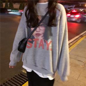 冬季新款韩版百搭网红图案印花宽松版假两件套头无帽加绒卫衣女潮