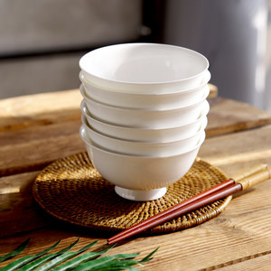 瓷碗套装6个 唐山<span class=H>骨瓷碗</span>饭碗6英寸中碗陶瓷碗高脚碗微波炉瓷碗