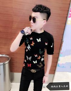 2019春夏新款男士花色短袖<span class=H>毛衣</span>个性印花半袖针织衫韩版修身打底衫