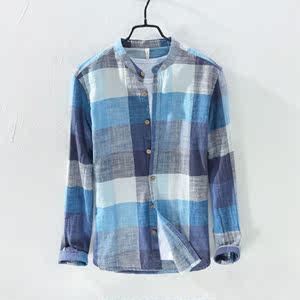 2018新款亚麻衬衫男格长袖宽松复古棉麻格子衬衣男式薄款青年<span class=H>上衣</span>