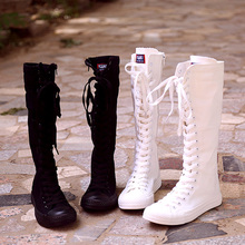 2018 far step Korean version of high-top women's casual canvas shoes zipper boots stage show boots canvas boots women