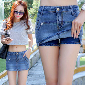 夏季女装牛仔包臀迷你性感超短裙一步裙修身显瘦紧身防走光短裤裙