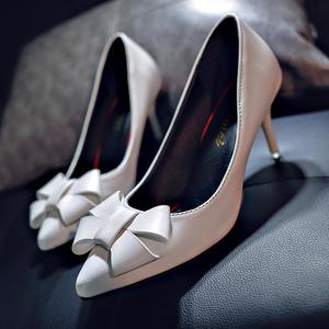 2019春季新款欧美性感细跟尖头浅口<span class=H>高跟鞋</span>单鞋女时装休闲鞋女鞋潮
