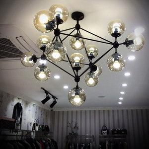 魔豆<span class=H>吊灯</span>北欧宜家创意玻璃圆球美式乡村<span class=H>LED</span>分子服装店客厅餐厅灯