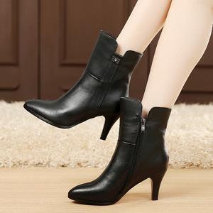 秋<span class=H>冬季</span>女鞋真皮<span class=H>女靴</span>高跟鞋中筒靴单靴尖头靴子<span class=H>细跟</span>中靴棉靴牛皮靴