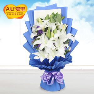 生日百合花束鲜花速递全国郑州太原花店西安广州深圳成都同城送花