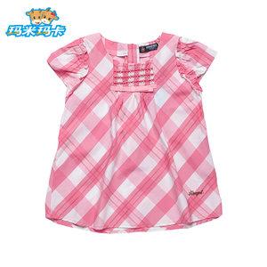 玛米玛卡<span class=H>童装</span>女童格子宽松衬衫夏季新款中大童短袖<span class=H>上衣</span>短款T恤衫