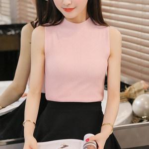 春夏新款韩版半高领冰丝针织<span class=H>背心</span>修身显瘦无袖吊带打底衫女士上衣