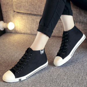 人本简约女士高帮帆<span class=H>布鞋</span> 英伦潮平底板鞋学生<span class=H>布鞋</span> 休闲透气女鞋子