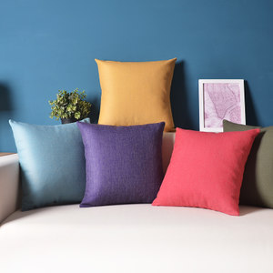 素色蓝色棉麻<span class=H>抱枕</span>沙发汽车纯色靠背靠垫套北欧宜家简约靠枕不含芯