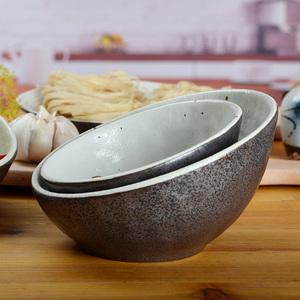 黑釉日式陶瓷石纹斜口盅大号碗斜口碗自助碗刷刷碗水果碗宠物碗