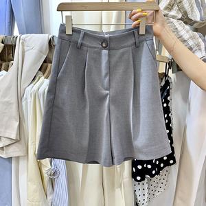 夏季新款<span class=H>女装</span>韩版净色百搭显瘦宽松版休闲时尚气质高腰西装五分裤