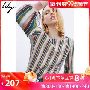Lily2019秋新款<span class=H>女装</span>复古彩丝条纹修身长袖上衣薄针织打底衫女8929