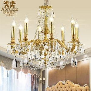 全铜法式水晶蜡烛<span class=H>吊灯</span>欧式艺术纯铜灯具轻奢意大利别墅客厅卧室灯