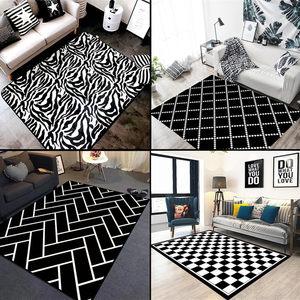 北欧ins风格黑白<span class=H>地毯</span>客厅茶几垫沙发卧室满铺床边几何长方形定制