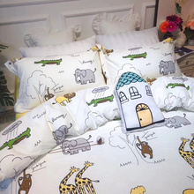 Ins cartoon Zoo four sets of cotton cotton children's three sets of boys'bed sheets, hats and bedding