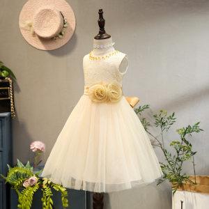童装女童连衣裙夏装儿童公主裙白色礼服<span class=H>婚纱</span>裙蓬蓬纱无袖女孩裙子
