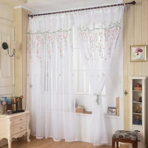 阳台纱成品<span class=H>窗帘</span>刺绣纱帘布料遮光遮阳客厅卧室飘窗门帘定制特价