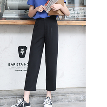 Misaz self-made super-good model, slim, high waist, nine-minute trousers, simple straight-barreled small black trousers