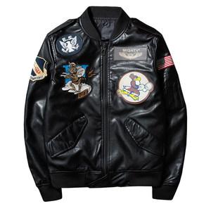 欧美男装秋冬潮流机车<span class=H>皮衣</span>空军飞行员刺绣徽章个性青年皮夹克外套