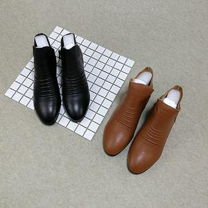 专柜尾货真皮短靴女韩版圆头内增高中跟百搭靴子里外全皮时尚女靴