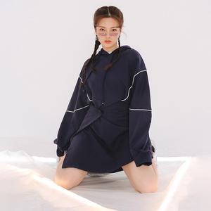LOVEHEYNEW新款时尚运动慵懒2018秋装街头个性魔术贴<span class=H>连衣裙</span>女