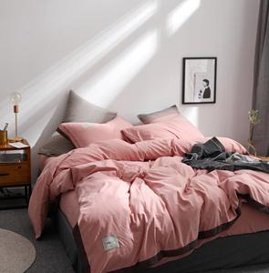 网红ins床上四件套 性冷淡风简约被套床单天丝水洗棉床上<span class=H>用品</span>