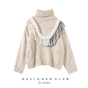 MMC studio 慵懒风chic高领<span class=H>毛衣</span>女 木耳边毛绒拼接宽松套头针织衫