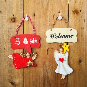 欧式小仙女空白手写装饰牌木制挂牌门牌创意壁挂幼儿园儿童房间牌