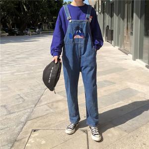 字母卡通刺绣毛驴<span class=H>背带裤</span>女秋冬新款显瘦宽松学生牛仔连体直筒长裤