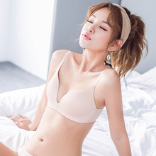 Two small seamless bosoms with French underwear, triangle cup bra, thin steel ring student girl bra