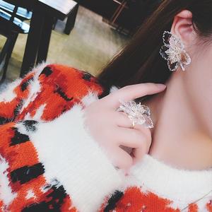 日韩潮人夸张个性大气水晶花朵<span class=H>耳环</span>戒指女气质花环食指戒指环套装