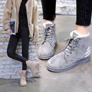 12大童平底雪地靴13中学生加绒保暖马丁靴14少女<span class=H>短靴</span>15岁冬季棉鞋