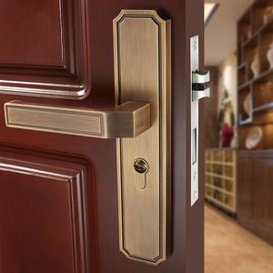 新中式门锁室内 卧室实木房门把手家用锁具静音卫生间通用型套装