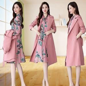 中长款风衣套装2018秋冬新款长袖连衣裙女两件套韩版修身时尚外套