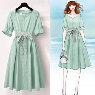 很仙的復古方領連衣裙女2019新款夏小清新氣質棉麻法國小眾桔梗裙
