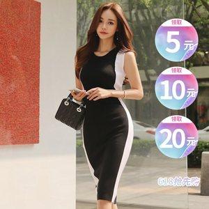 气质冰丝针织<span class=H>连衣裙</span>女夏新款中长款黑白拼接撞色修身包臀心机裙子