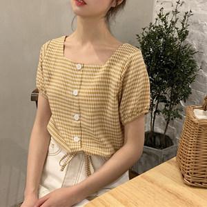 春季2019新款韩版宽松显瘦格子百搭短袖方领系带短款衬衫上衣女
