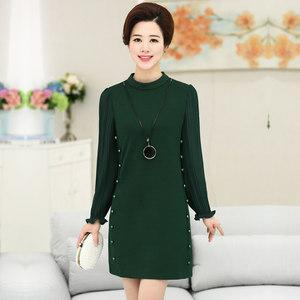 2018秋装新款中年女装韩版时尚长袖<span class=H>连衣裙</span>中长款纯色纱袖A字裙子