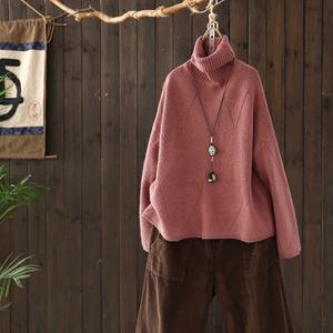 西缺原创 文艺百搭 几何菱格 宽松高领<span class=H>毛衣</span>女秋冬新款套头针织衫