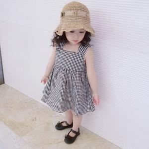 童装夏装女童背心裙夏季连衣裙儿童公主裙小女孩<span class=H>裙子</span>宝宝格子童裙