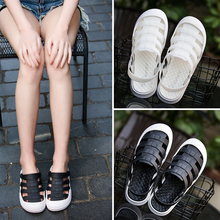 Outside slippers female hole shoes summer Baotou Korean fashion slipper-proof half-slippers student nurses flat-soled slippers