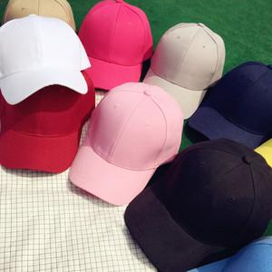 韩版潮人男女百搭纯色棒球<span class=H>帽子</span>夏天街头黑粉色学生遮阳鸭舌帽情侣