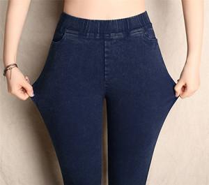 春款仿牛仔休闲裤打底裤女外穿高腰小脚高弹力紧身加大码长裤薄款