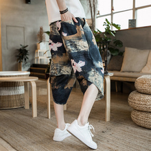 Broad-legged pants, men's seven-minute pants, loose summer beach casual pants, Chinese breeze large-size shorts, fashionable flax Hallen pants
